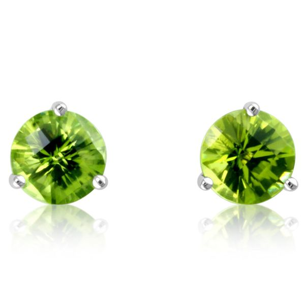 White Gold Peridot Earrings DeRobertis Jewelers West Hartford, CT