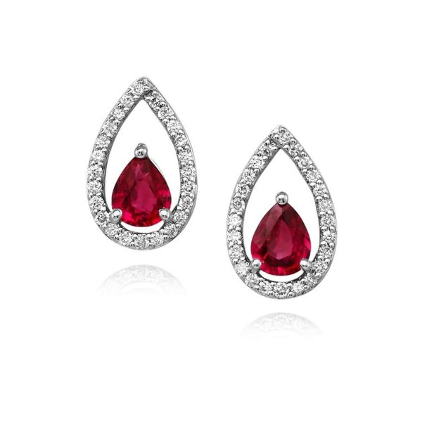 Earrings - White Gold Sapphire Earrings - image #2