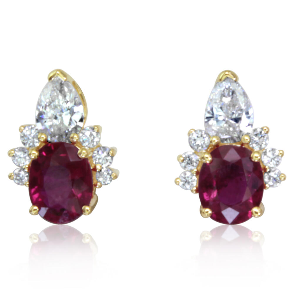 Yellow Gold Ruby Earrings Towne & Country Jewelers Westborough, MA