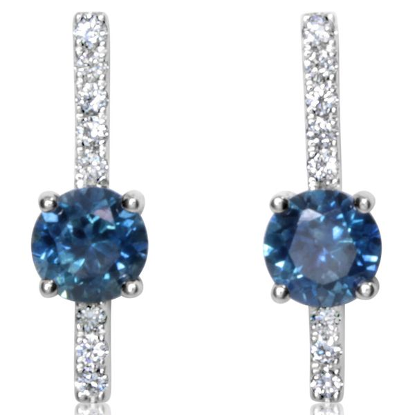 White Gold Sapphire Earrings DeRobertis Jewelers West Hartford, CT