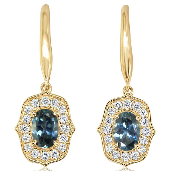 Yellow Gold Sapphire Earrings DeRobertis Jewelers West Hartford, CT