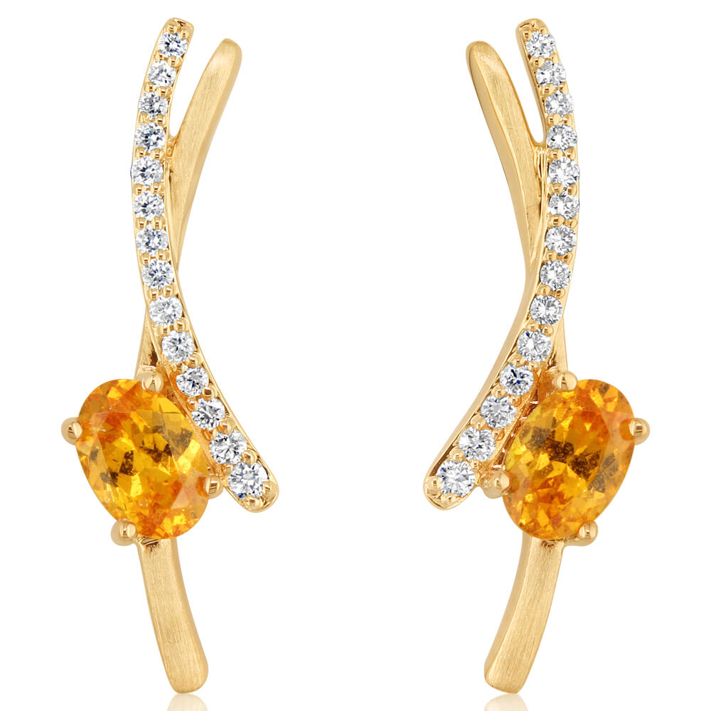 Yellow Gold Mandarin Garnet Spessartite Earrings DeRobertis Jewelers West Hartford, CT