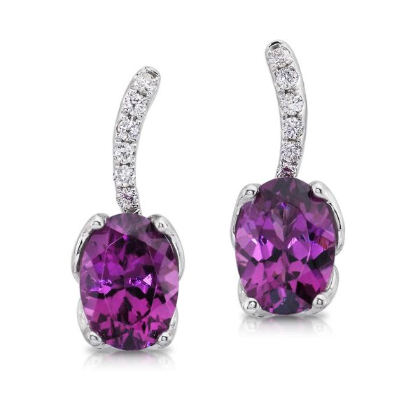 White Gold Garnet Earrings DeRobertis Jewelers West Hartford, CT