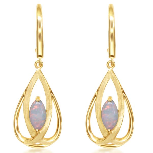 Yellow Gold Calibrated Light Opal Earrings Towne & Country Jewelers Westborough, MA