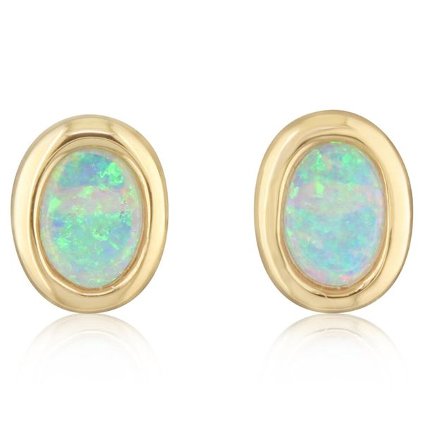 Yellow Gold Calibrated Light Opal Earrings The Jewelry Source El Segundo, CA