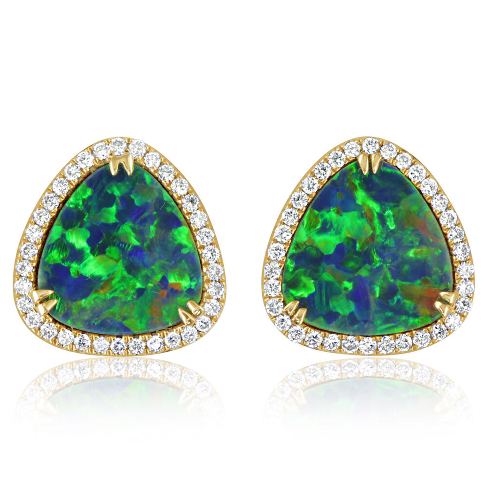 Yellow Gold Opal Doublet Earrings Towne & Country Jewelers Westborough, MA