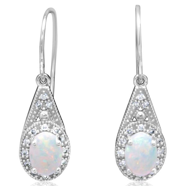 White Gold Calibrated Light Opal Earrings DeRobertis Jewelers West Hartford, CT