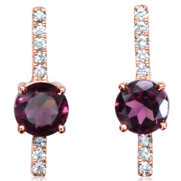 Rose Gold Rhodolite Garnet Earrings Arthur's Jewelry Bedford, VA