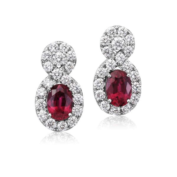 18K White Gold Mozambique Ruby/Diamond Earrings by Parle