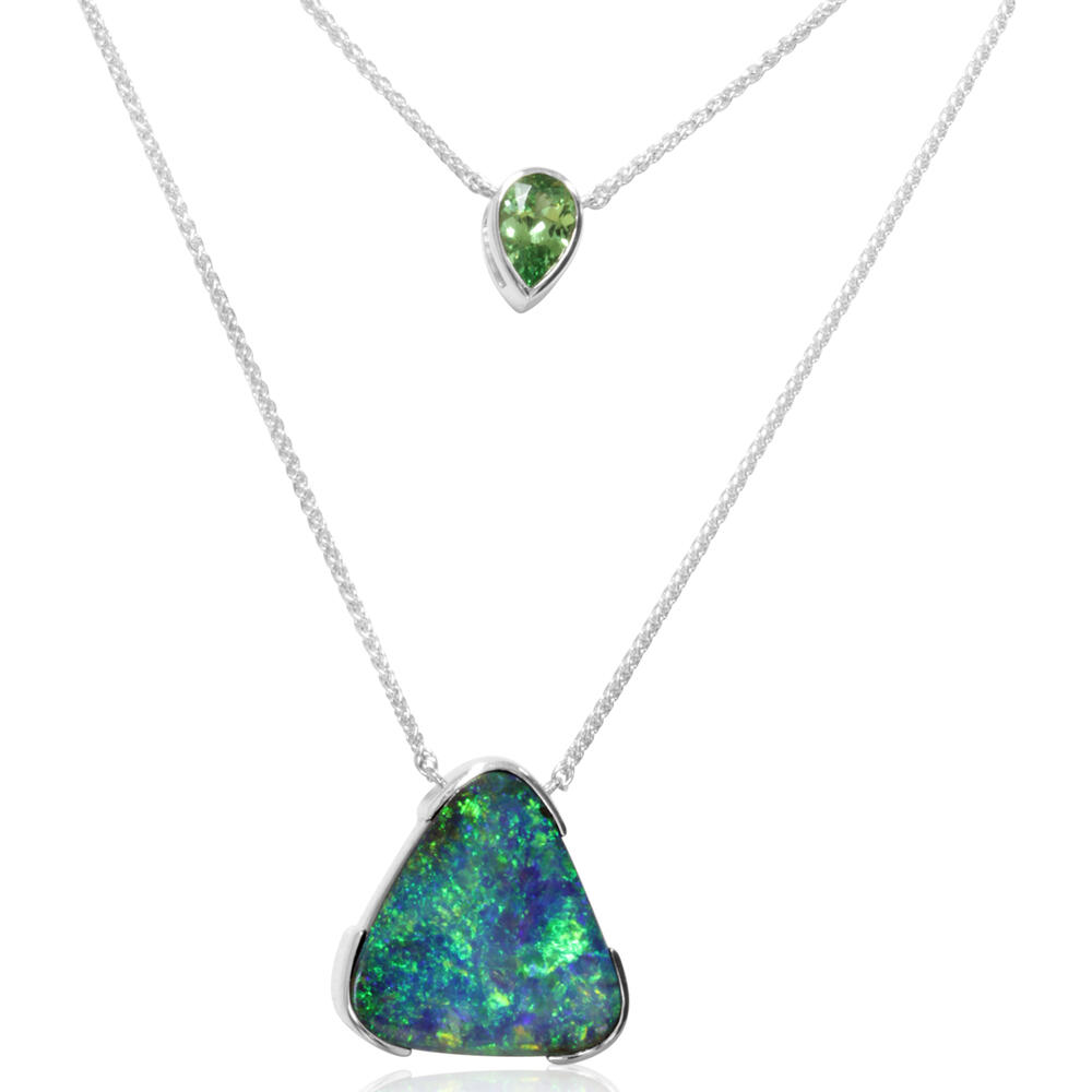 White Gold Boulder Opal Necklace Arthur's Jewelry Bedford, VA