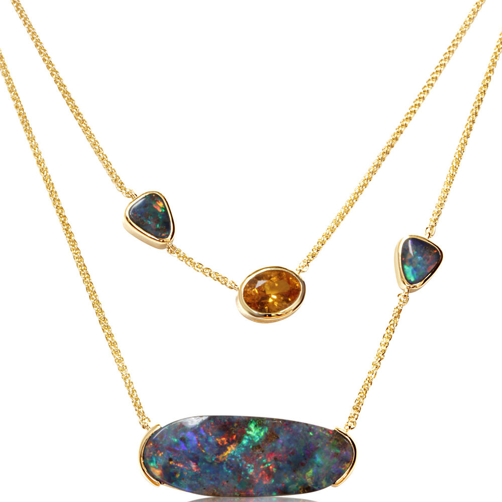 Yellow Gold Boulder Opal Necklace DeRobertis Jewelers West Hartford, CT