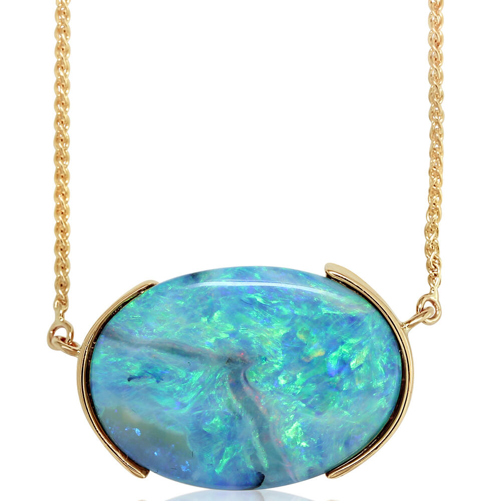 Yellow Gold Boulder Opal Necklace Biondi Diamond Jewelers Aurora, CO