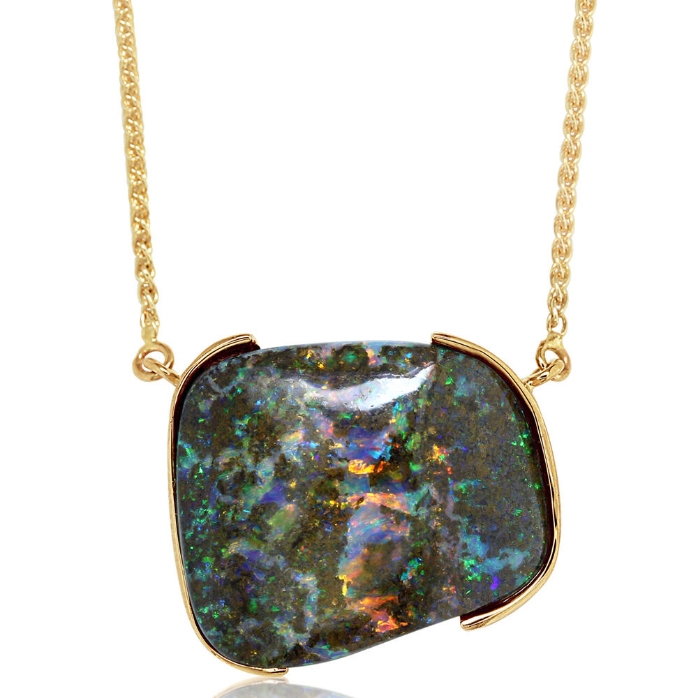 Yellow Gold Boulder Opal Necklace Image 3 Biondi Diamond Jewelers Aurora, CO