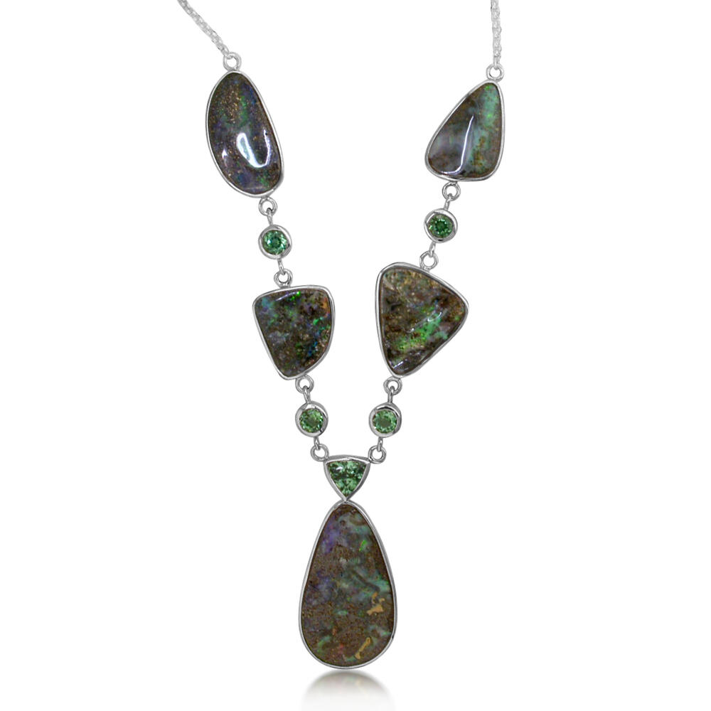 White Gold Boulder Opal Necklace The Jewelry Source El Segundo, CA