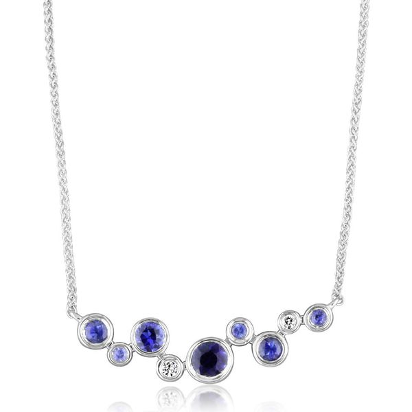 White Gold Sapphire Necklace Towne & Country Jewelers Westborough, MA