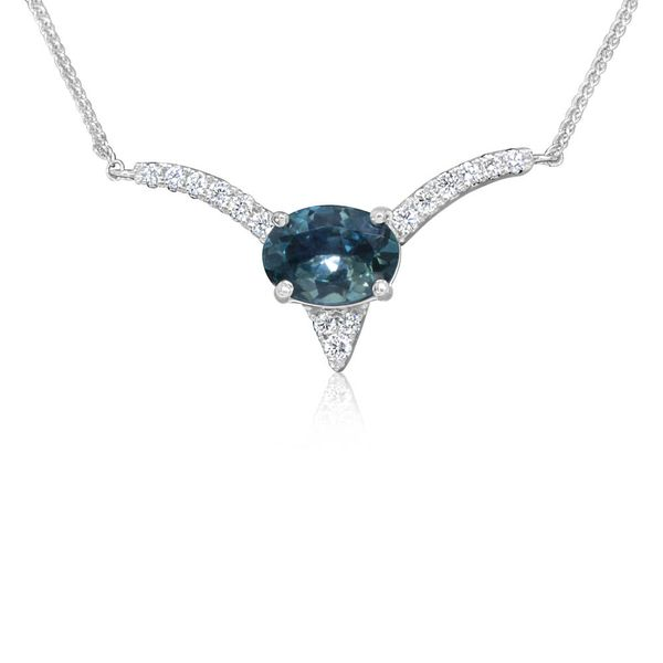 White Gold Sapphire Necklace DeRobertis Jewelers West Hartford, CT