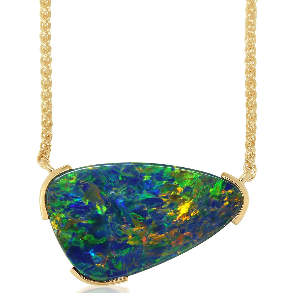 Yellow Gold Opal Doublet Necklace The Jewelry Source El Segundo, CA