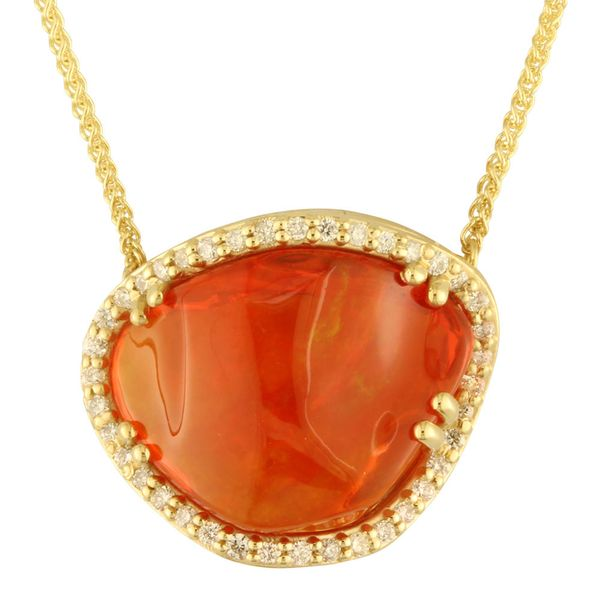 Yellow Gold Fire Opal Necklace Bijoux Fine Jewelers Sulphur, LA