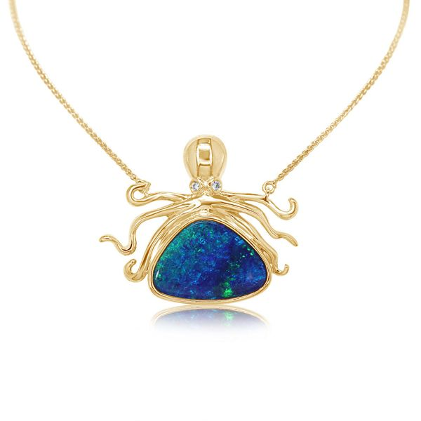 Yellow Gold Opal Doublet Necklace Arthur's Jewelry Bedford, VA