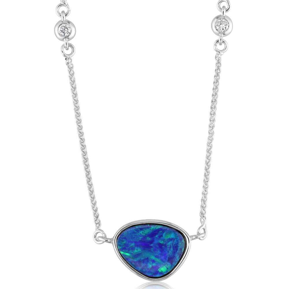 White Gold Opal Doublet Necklace The Jewelry Source El Segundo, CA