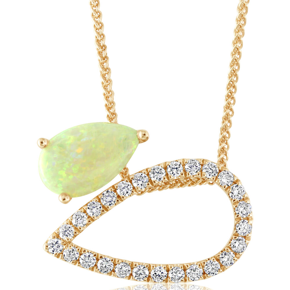 Yellow Gold Calibrated Light Opal Necklace The Jewelry Source El Segundo, CA