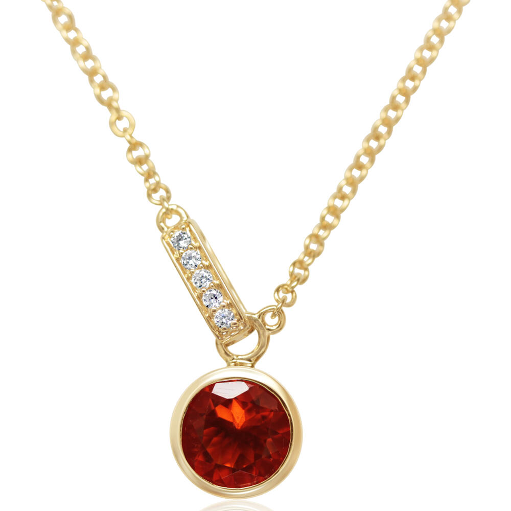 Yellow Gold Fire Opal Necklace DeRobertis Jewelers West Hartford, CT