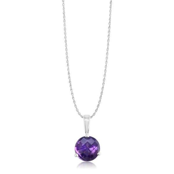 White Gold Amethyst Pendant DeRobertis Jewelers West Hartford, CT