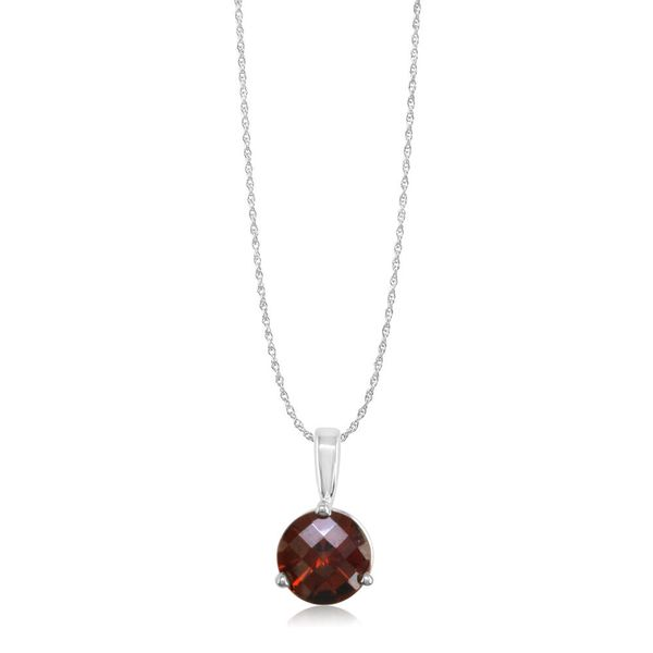 White Gold Garnet Pendant Towne & Country Jewelers Westborough, MA