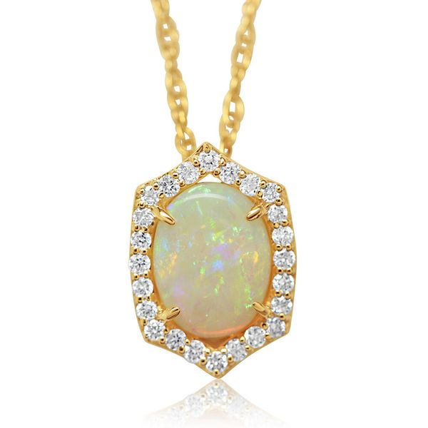 Yellow Gold Calibrated Light Opal Pendant The Jewelry Source El Segundo, CA