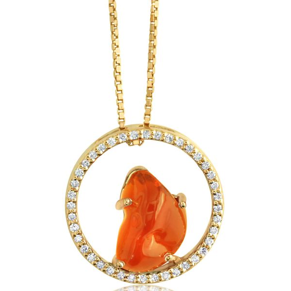 Yellow Gold Fire Opal Pendant Towne & Country Jewelers Westborough, MA