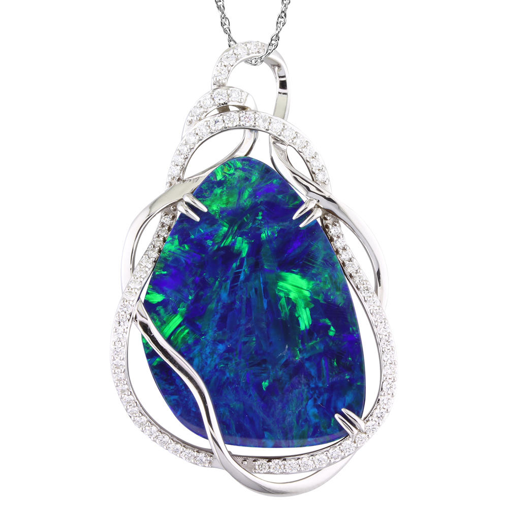 White Gold Opal Doublet Pendant Towne & Country Jewelers Westborough, MA