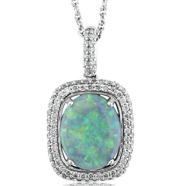 White Gold Black Opal Pendant Towne & Country Jewelers Westborough, MA