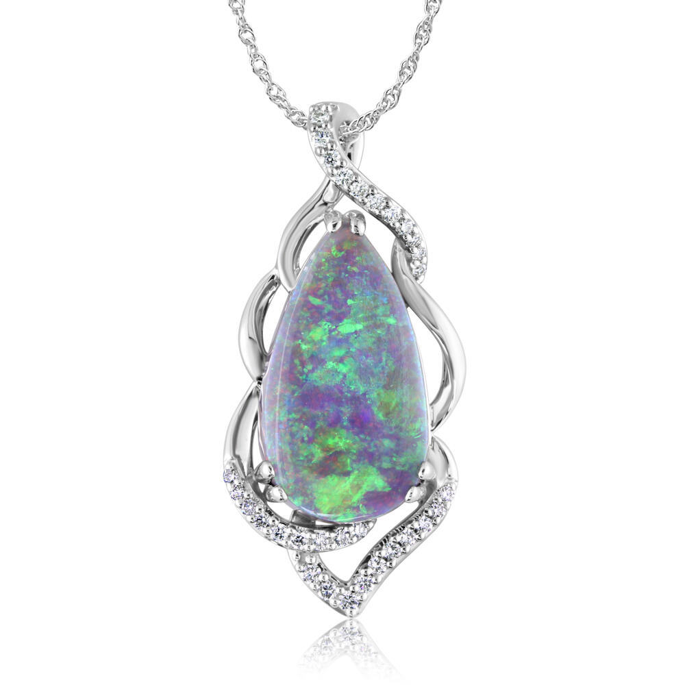 White Gold Black Opal Pendant Michael's Jewelry Center Dayton, OH