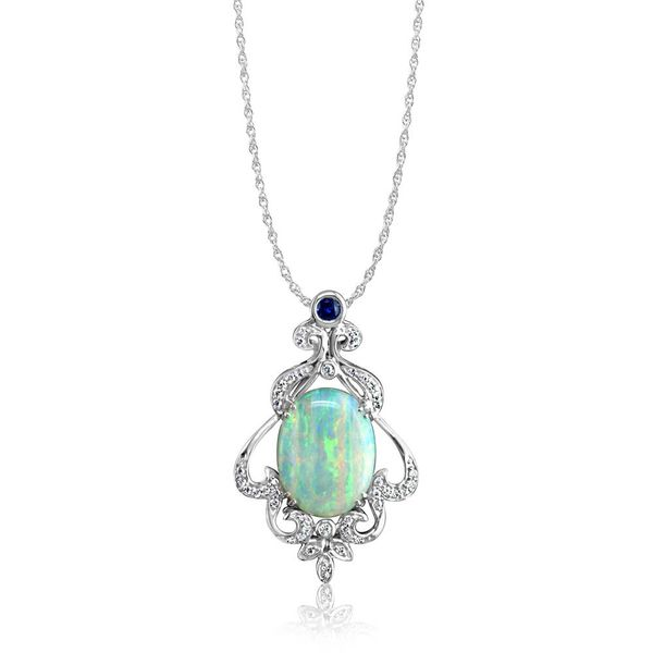 18K White Gold Australian Opal/Diamond Pendant by Parle