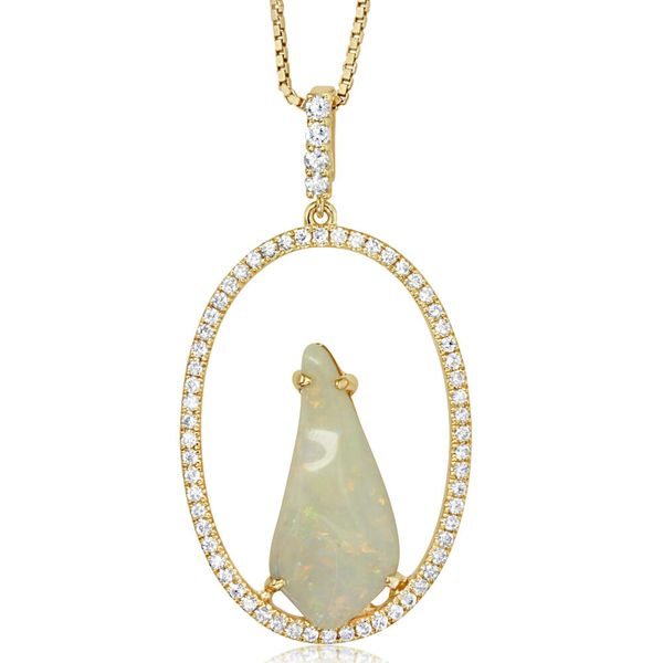 Yellow Gold Natural Opal Pendant Image 2 Towne & Country Jewelers Westborough, MA