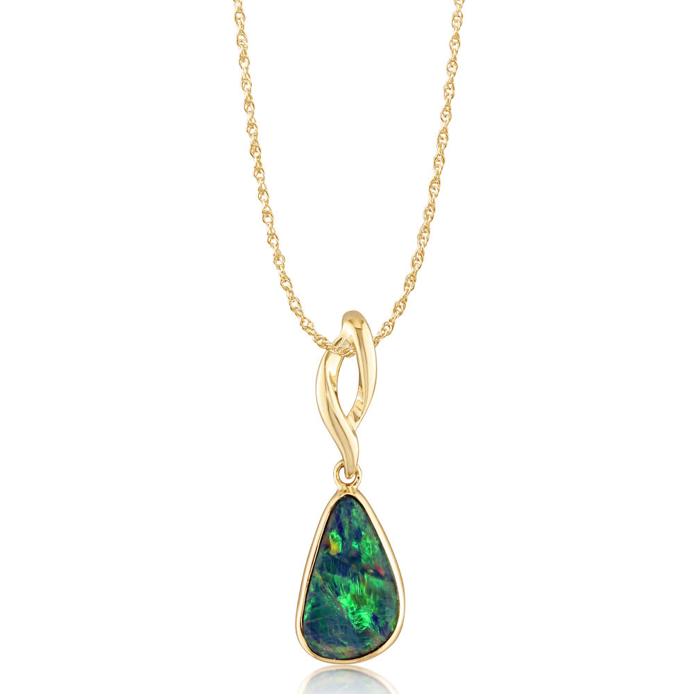 Yellow Gold Opal Doublet Pendant Towne & Country Jewelers Westborough, MA