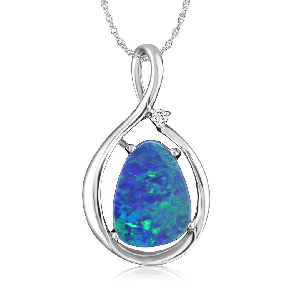 White Gold Opal Doublet Pendant The Jewelry Source El Segundo, CA