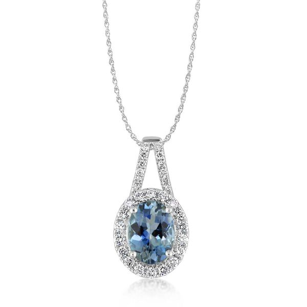 White Gold Aquamarine Pendant The Jewelry Source El Segundo, CA