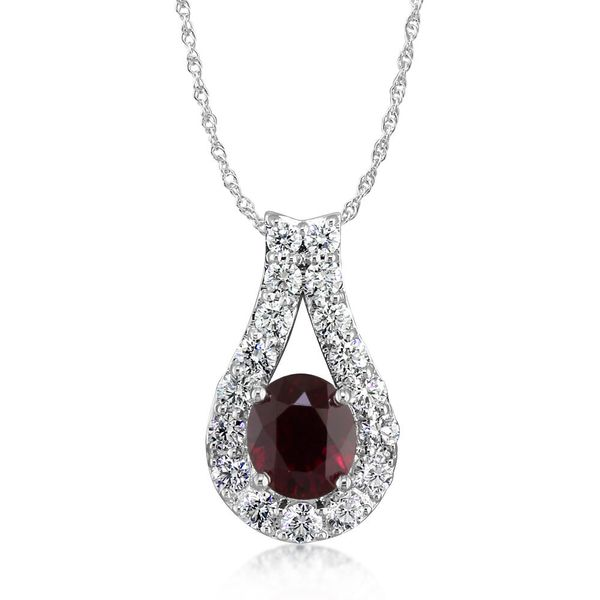 18K White Gold Mozambique Ruby/Diamond Pendant by Parle