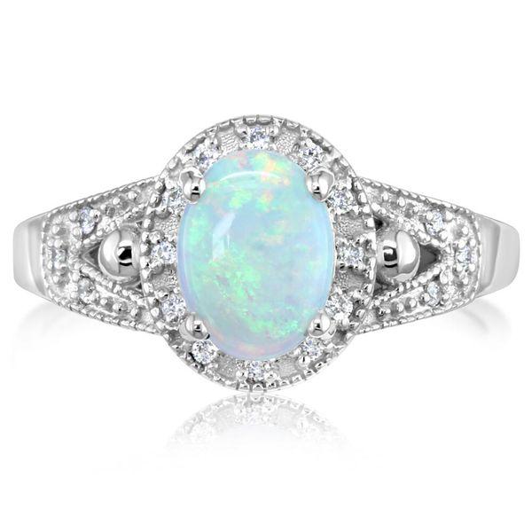14k White Gold Australian Opal Diamond Ring