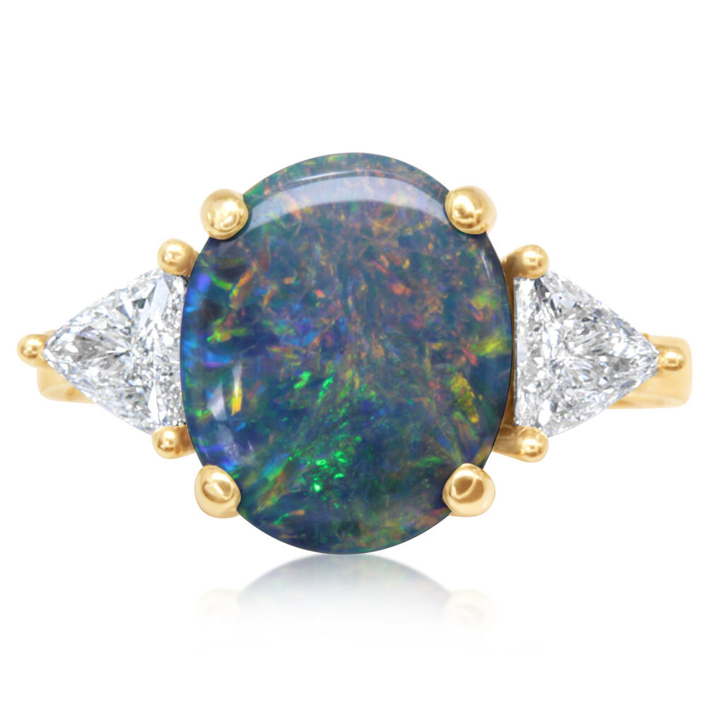 Yellow Gold Black Opal Ring Bijoux Fine Jewelers Sulphur, LA