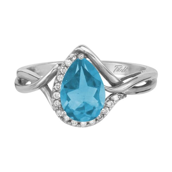 14K White Gold Blue Topaz/Diamond Ring by Parle