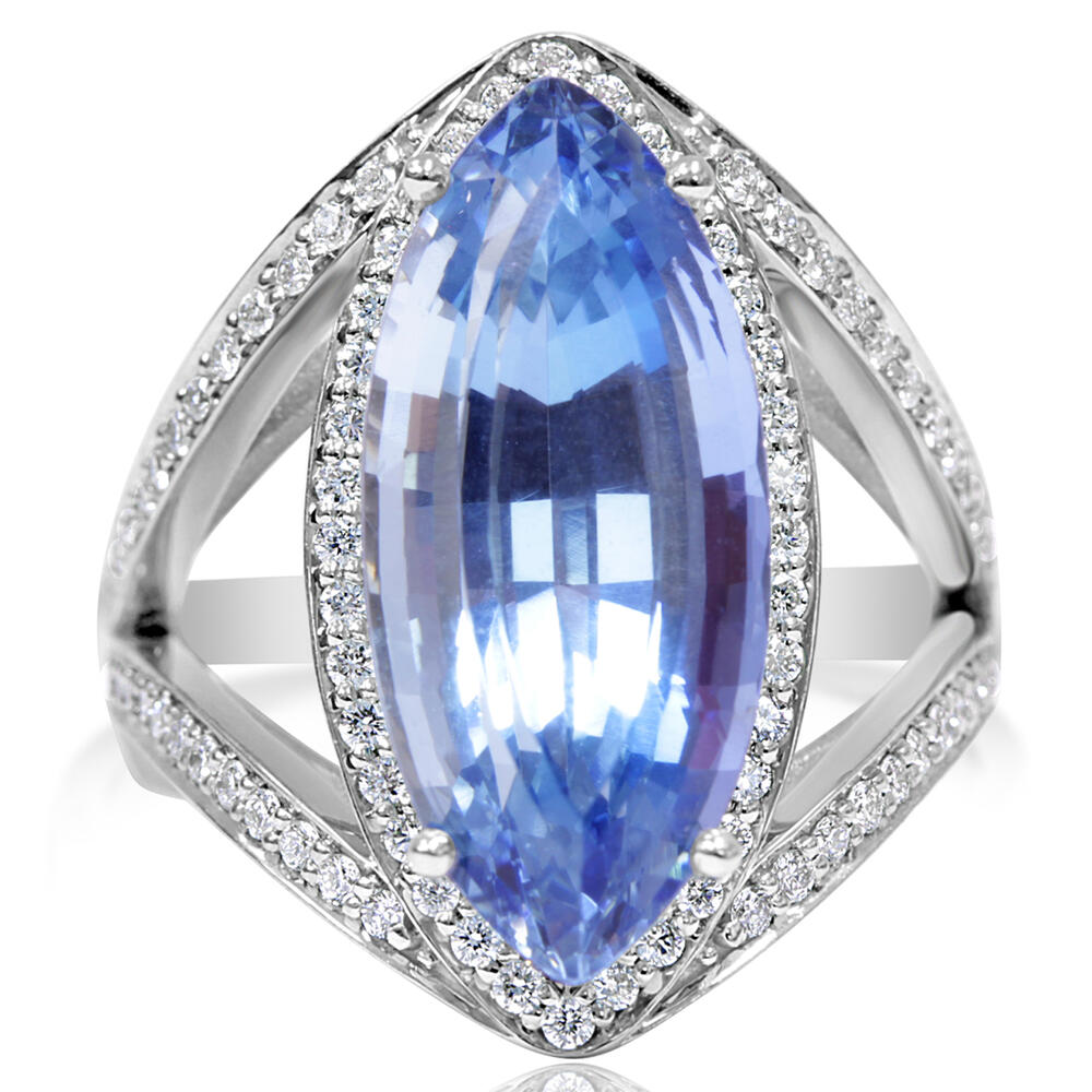 White Gold Aquamarine Ring Towne & Country Jewelers Westborough, MA