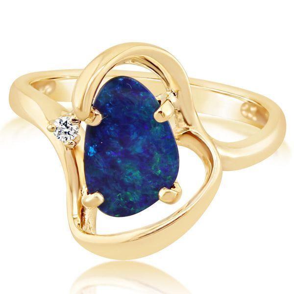 14k Yellow Gold Australian Opal Diamond Ring