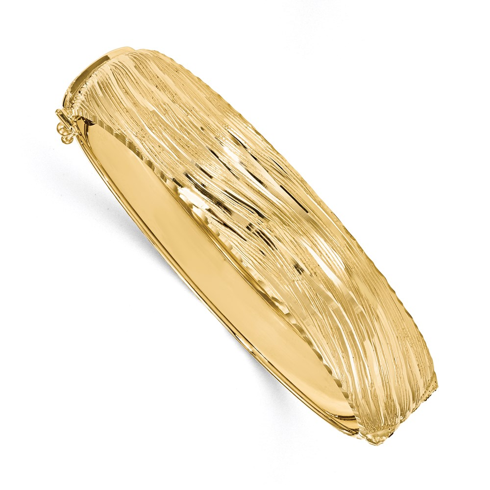14K Yellow Gold Polished Textured Bangle Bracelet by Leslie