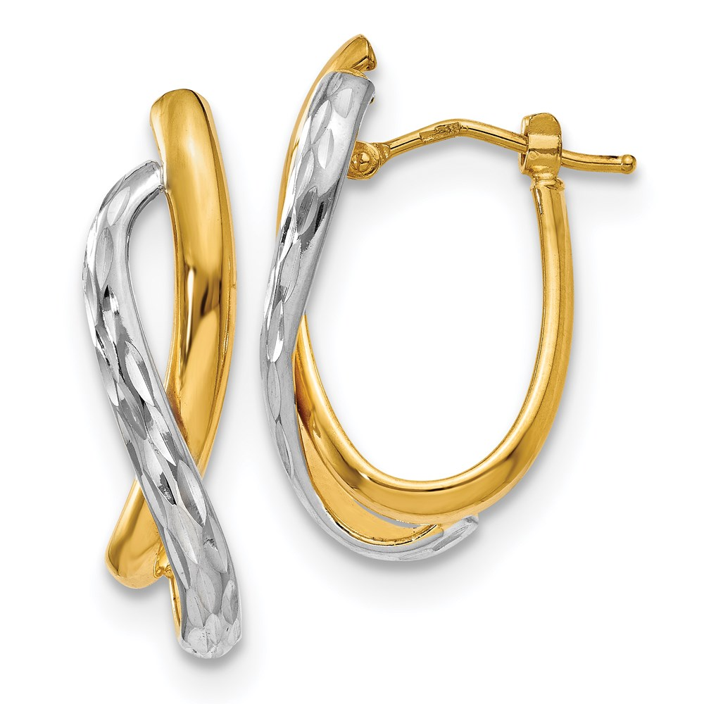 14k Two-tone Earrings by Leslie