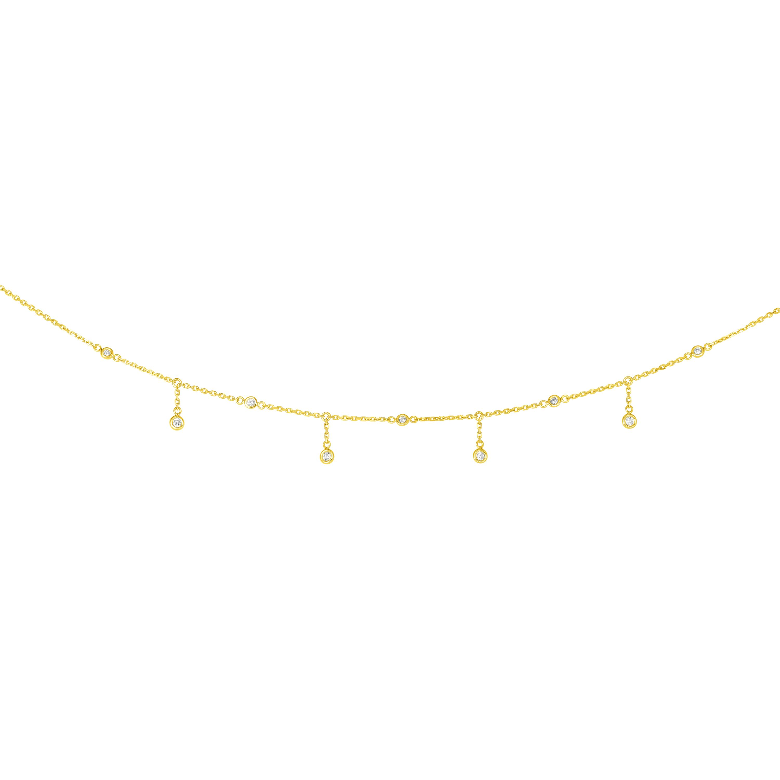 14K Yellow Gold Diamond Necklace by Royal Chain