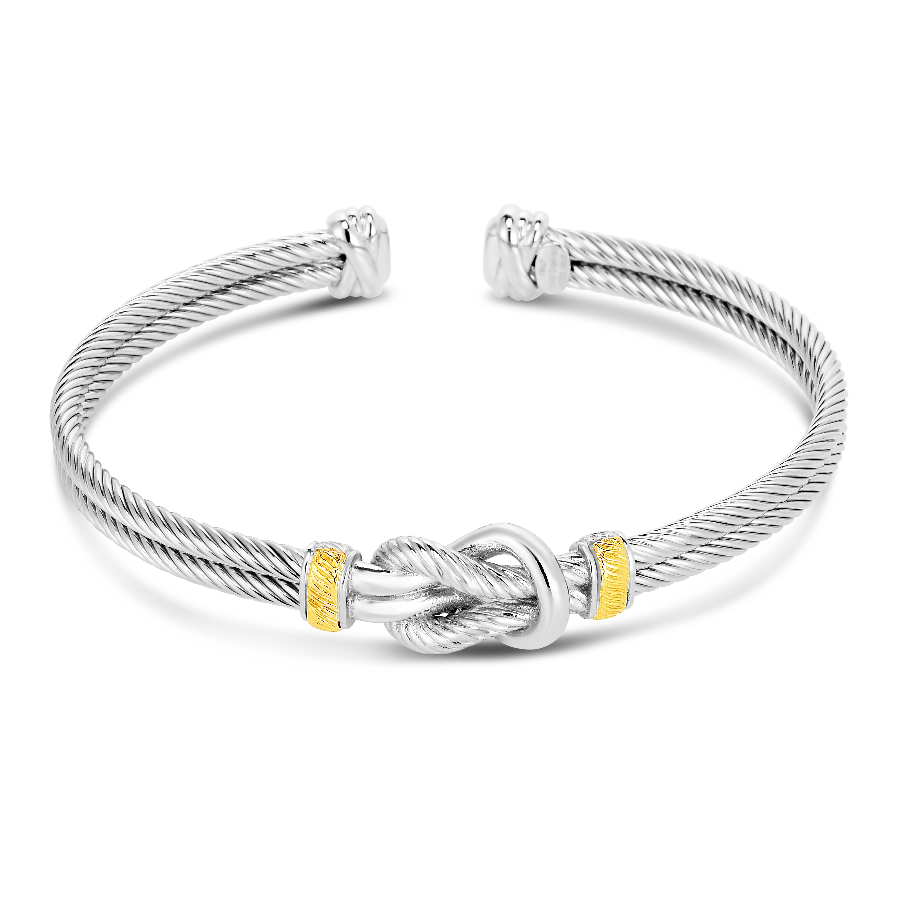 Sterling Silver & Yellow Gold Bangle Bracelet James Wolf Jewelers Mason, OH
