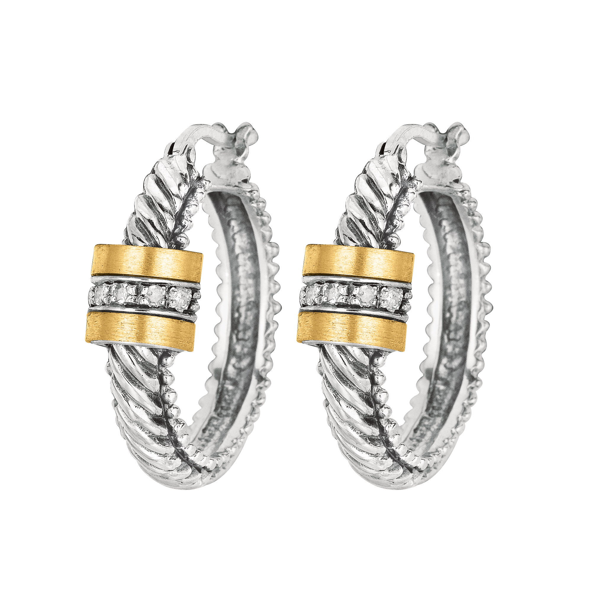 18K YELLOW & WHITE GOLD  Diamond Earrings by Phillip Gavriel