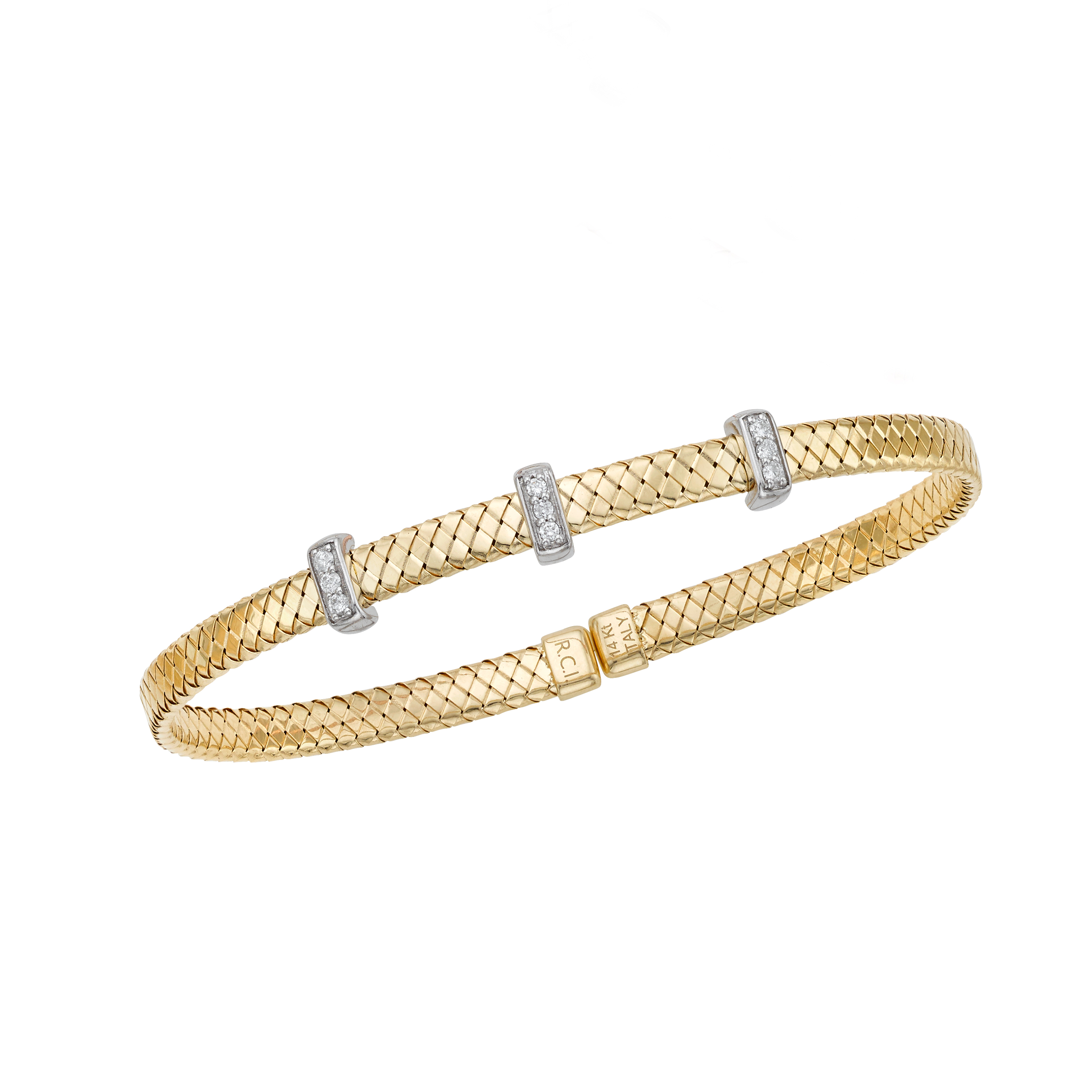 14K Yellow & White Gold Diamond Bangle Grogan Jewelers Florence, AL